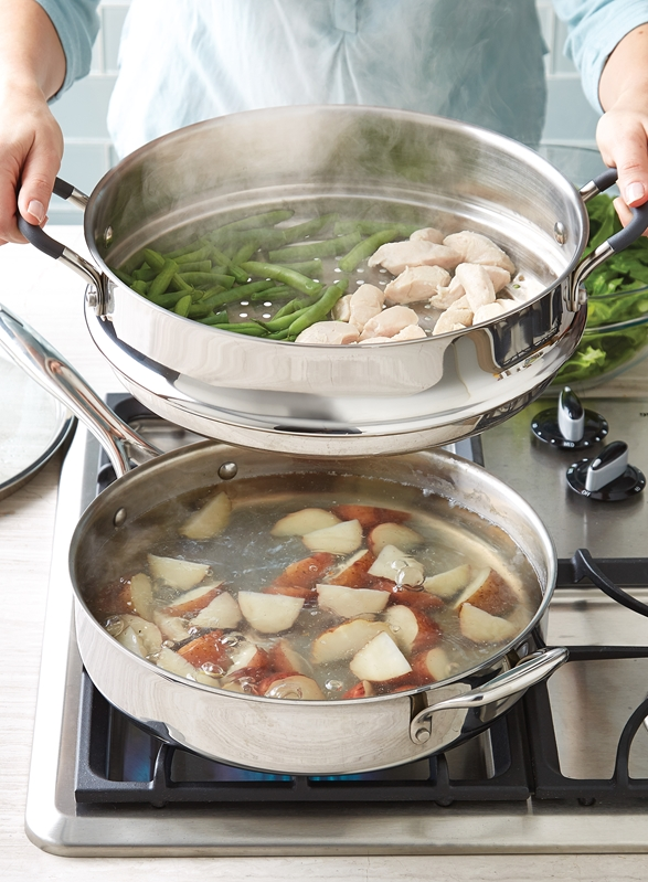 Save time and effort by cooking multiple items in a single pan!